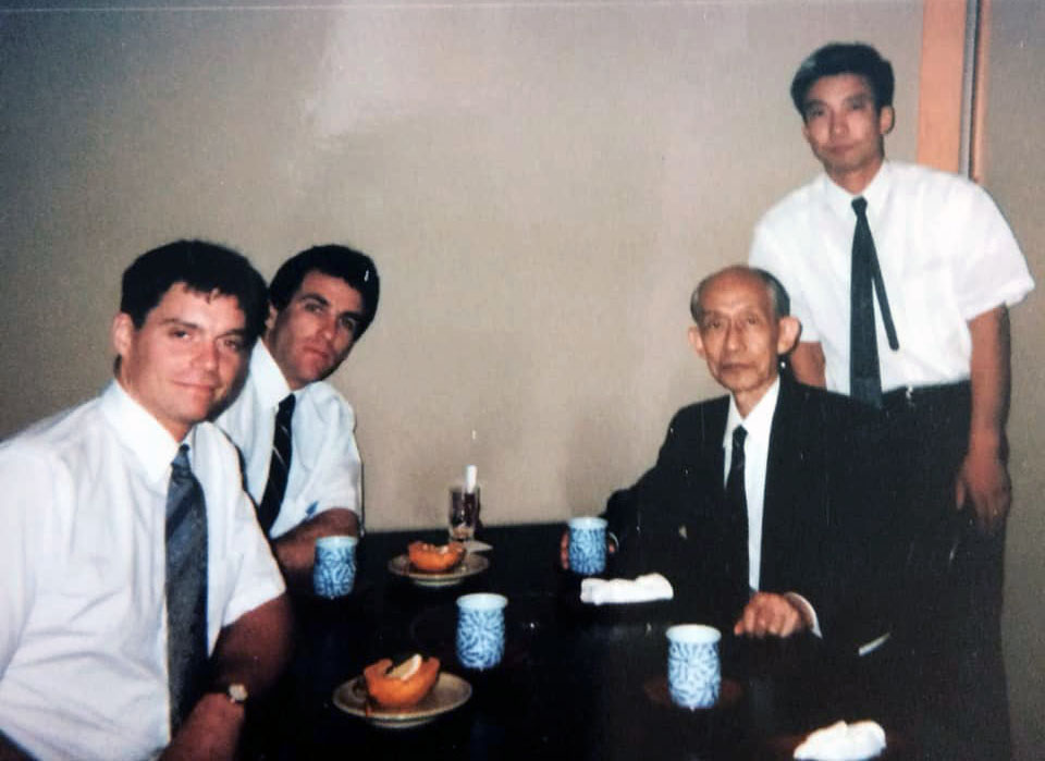 Tony and Yahe Solomon with son of the founder Kisshomaru Doshu and grandson of the founder Moriteru Doshu